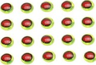 *Oval Pupil 3D Eyes Chartreuse-Red 4.8mm